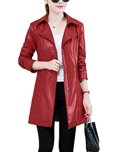 Jenkoon Mens Casual Stand Collar Zip up Faux Leather Jacket Bomber Spring and Autumn