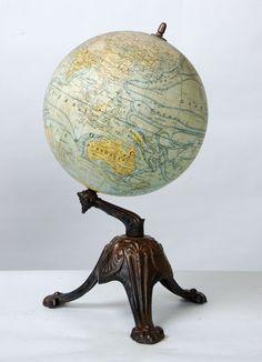 Antique French Globe on Cast Iron Base