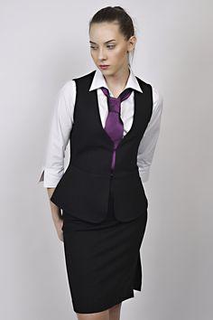 business look, waistcoat, black waistcoat, white shirt, purple tie, reception, management Black Waistcoat, Business Look, Peplum Dress, Reception, Management, Vest, Blazer, Tie, Purple