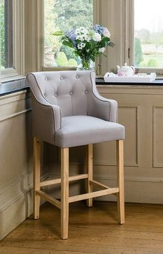 Breakfast Bar Stools With Backs And Arms. Pair Alsono Chrome And Padded Kitchen Breakfast Bar Stools . Grey Bar Stools, Bar Stools With Backs, High Back Bar Stools, Breakfast Bar Chairs, Island Chairs, Bar Cart Decor, High Stool, Kitchen Stools, Kitchen High Chairs