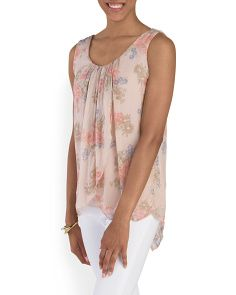 image of Made In Italy Silk Floral Tank