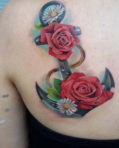 Floral Anchor Tattoo Design by Greta