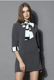 Delicate Grey Shift Dress with Contrast Scarf