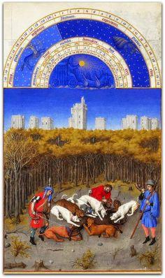 Dezembro (As mui ricas horas do duque de Berry)   Para o último mês do ano, o pintor não aceitou a iconografia tradicional da matança do porco para o Natal, e prefere uma cena de caça com cães de caça .  http://sergiozeiger.tumblr.com/post/104069787008/dezembro-as-mui-ricas-horas-do-duque-de-berry  Trata-se especificamente das víceras , quando um dos caçadores, a direita, toca a trombeta. Os cães desmembram o javali.