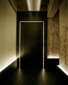 nice, quirky lighting detail that turns chair rail into something more interesting. might be fun to have light slits at restroom doors Corridor Lighting, Linear Lighting, Strip Lighting, Interior Lighting, Lighting Design, Rope Lighting, Porte Design, Door Design, Design Design
