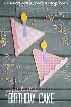 Popsicle Stick Birthday Cake - Kid Craft - GluedToMyCraftsBlog.com