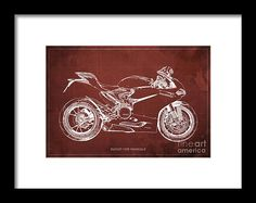 Ducati Superbike 1299 Panigale 2015, Gift For Men, Red Vintage Background Framed Print by Pablo Franchi. All framed prints are professionally printed, framed, assembled, and shipped within 3 - 4 business days and delivered ready-to-hang on your wall. Choose from multiple print sizes and hundreds of frame and mat options.