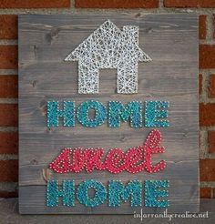 "DIY Home Decor | DIY Wall Art | Have you been wanting to make your own string art? Give it a try with this ""Home Sweet Home"" string art tutorial!"