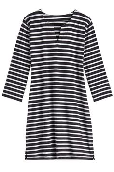 Now in black and white stripe our customer favorite the Oceanside Tunic. Great for a sunny lunch date or as a cover-up on the beach, this UPF 50+ tunic dress is perfect for your skin. Stay safe in the sun with Coolibar sun protective clothing.   Oceanside Tunic Dress: Sun Protective Clothing - Coolibar