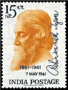Tagore in postage stamps..This stamp was brought out in 1961 on the birth centenary occasion, and was designed by Ray