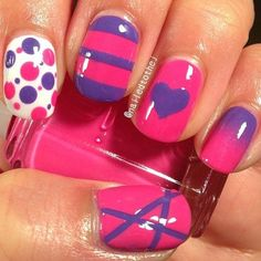 nail art  I really love the spots and the horizontal stripes (maybe with a white stripe in there as well).