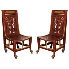Pair of Egyptian Revival Chairs | From a unique collection of antique and modern side chairs at https://www.1stdibs.com/furniture/seating/side-chairs/