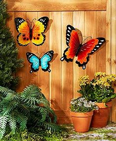 Wall Art Indoor / Outdoor Metal Wall Decor Butterfly Set of 3 Add summertime style to your fence, porch or even indoors with this Set of 3 Metal Wall DecorEach Outdoor Metal Wall Decor, Metal Wall Art Decor, Outdoor Walls, Indoor Outdoor, Outdoor Decor, Metal Art, Outdoor Art, Metal Butterfly Wall Art, Butterfly Wall Decor