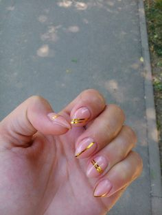 #stiletto #natural #gold
