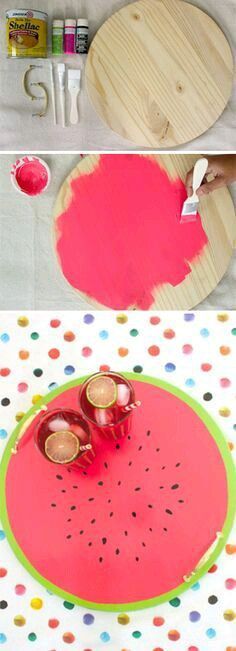 Brighten your kitchen or a party with this cute DIY Watermelon wood tray! Plus, 22 other fun DIY projects to revive your kitchen. Diy Décoration, Easy Diy, Fun Diy, Diy Ac, Cute Crafts, Diy And Crafts, Creative Crafts, Diy Projects To Try, Craft Projects