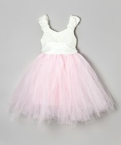 White & Pink Puff-Sleeve Tutu Dress - Toddler & Girls *so cute