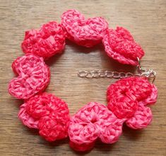 Chains of Hearts Crochet Bracelet with diagram, written instructions, and pictures to follow.