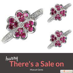 Beautiful pink sapphire & diamond 18Kt white gold flower ring 20% off - was $1407 now $1125 - sale ends 14th May 2017  www.muscat-gems.com #naturalsapphires #gemstones #eternityband #tsavorite #orangesapphire #bluesapphire #jewelry #gemology #love #picoftheday #instafollow #instashop #onlineshopping #shopping #shop #loveit #musthave #jewellery #pinksapphires #yellowsapphires #tsavoritejewellery #eternityring #engagementring #gemstonejewellery #sale #instasale
