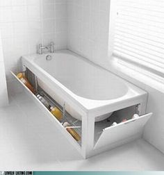 Reinventing the bath tub - Just imagine a relaxing bath, without worry that you'll knock your shampoo off the ledge. Especially in a small bathroom without room for a cabinet or shelf to store things. The space under your bathtub has until now gone completely unused, great idea to change that.