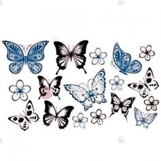 Chic Various Butterflies and Flower Pattern Waterproof Tattoo Sticker... (€2,40) ❤ liked on Polyvore featuring accessories