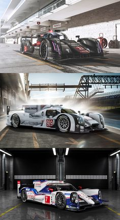 tractioninc:  The 24 Hours of Le Mans remains the World's Greatest Endurance Race  Exotic carbon-composite sports cars designed for enormous aerodynamic downforce and fitted with hybrid powerplants producing a thousand horsepower?  Check.  The latest Le Mans prototypes push the technological envelope into territory totally unimagined in prior generations of racing.  Forza corsa! Pictured: Audi R18 E-Tron Quattro | Porsche 919 Hybrid | Toyota TS040 Hybrid