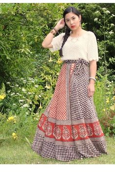 indian vintage wrap skirts chictopia | eggshell hand-crochethed vintage top - tawny maxi wrap skirt thrifted ...