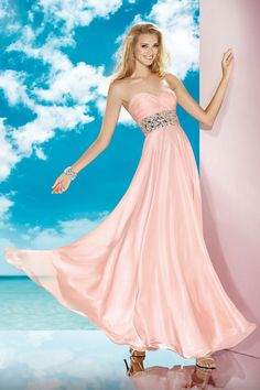 2014 Prom Dress Sweetheart Fitted And Ruched Bodice Beaded Waistline Flowing Chiffon Skirt
