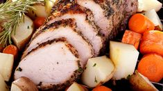 Get a recipe for crock pot garlic pork roast, a delicious main dish that's sure to satisfy and easy to put together in the slow cooker. Oven Roasted Pork Loin, Pork Roast In Oven, Pork Roast Recipes, Crockpot Recipes, Cooker Recipes, Leftover Pork Roast, Boneless Pork Roast, Roasted Potatoes And Carrots, Oven Vegetables