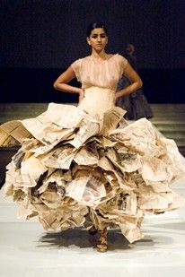 Jack Simkins - Up Cycling -  Gary Harvey has created a dress made from rubbish and newspaper. The reason for doing this is because he wanted to change peoples ideas about second hand products and what is actually rubbish and what still has a use.  'Fashion with consequences'  http://www.vogue.co.uk/fashion/spring-summer-2008/ready-to-wear/gary-harvey
