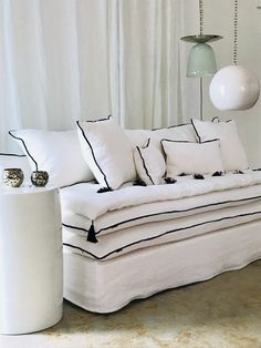 White and One-Bedroom White Washed Linen Sofa - White Bedroom, One Bedroom, Rustic Furniture, Home Furniture, Diy Daybed, Cheap Rustic Decor, Floor Seating, Custom Sofa, Home Living Room