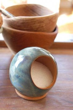 Terrific Pictures Ceramics Pottery tutorials Style Salt Pig or Salt Cellar Unglazed on the Inside in Slate Blue Thrown Pottery, Slab Pottery, Pottery Wheel, Ceramic Pottery, Pottery Barn, Stoneware Clay, Ceramic Clay, Ceramic Bowls, Ceramic Pinch Pots