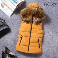 winter fur collar vest Cotton Joker cotton coat hooded vest women's vestidos waistcoat 2017 Sleeveless jacket Thick Warm Female
