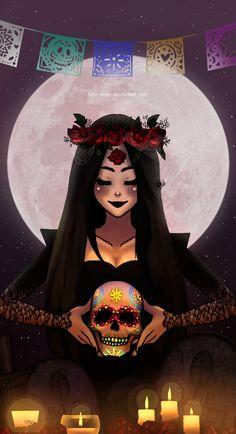 Altar by lizzy-moon on DeviantArt Caveira Mexicana Tattoo, Arte Lowrider, Hollow Art, Posca Art, Sugar Skull Art, Sugar Skulls, Day Of The Dead Art, Skull Wallpaper, Digital Art Girl