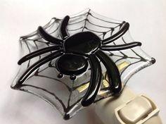 Spider Halloween Fused Glass Night Light Creepy Bug by LaGlasSea