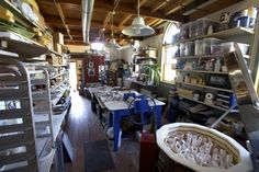 Pottery Studio...I miss slinging clay.  Wild fork, the old barn.