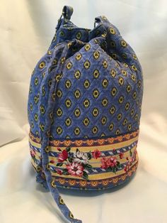cd3ff29b Diamond/Floral Quilted Cotton Drawstring Tote Bag 8