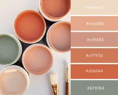 Hex Color Codes for soft oranges and sage green Hex Color Palette, Colour Schemes, Color Combos, Orange Color Palettes, Room Colors, House Colors, Colours, Colores Hex, Hex Color Codes