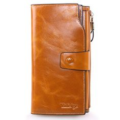 Yafeige Women's Large Capacity Oil wax cowhide Leather Purse Genuine Leather Wallet With Zipper Pocket (Yellowish Brown) >>> Want to know more, visit