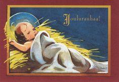 Martta Wendelin (1893-1986) - Vintage Chritmas Card Christmas Nativity, Christmas Past, Christmas Images, All Things Christmas, Vintage Christmas Cards, Vintage Cards, Nostalgic Images, Holy Night, Advertising Signs