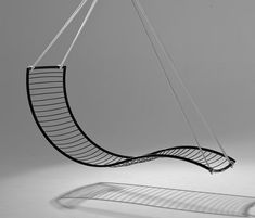 Curve hanging swing chair by Studio Stirling Room Swing, Hanging Swing Chair, Hammock Swing, Hammock Chair, Swinging Chair, Swing Chairs, Hanging Furniture, Outside Furniture, Dining Room Chair Cushions