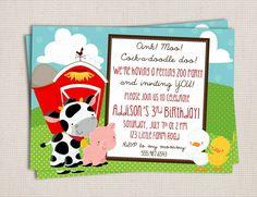 Petting Zoo Farm AnimalThemed Birthday Party Printable Invitation Digital File on Etsy, $10.00