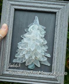 White Christmas, beach glass art, sea glass art, beach decor, glass art, glass tree, etsy,