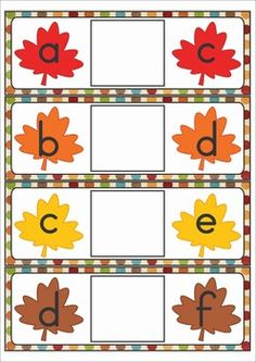 Literacy Centers for Kindergarten - Autumn / Fall. A page from the unit: Missing letters. Kindergarten Centers, Teaching Kindergarten, Preschool Learning, Literacy Centers, Learning Activities, Teaching Kids, Autumn Activities, Kindergarten Activities, Autumn Theme