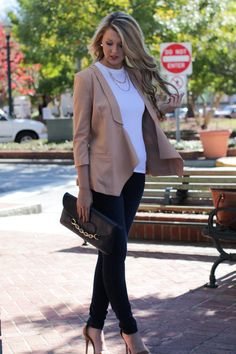 Create an office chic look with our Works Every Time Cream Blazer! Perfect addition for your Fall business wardrobe! Trending Fashion, Latest Fashion, Fashion Beauty, Shop Dress Up, Cream Blazer, Im So Fancy, Office Chic, Fashion Styles, Fashion Trends