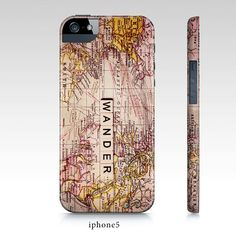 """map phone case, Samsung galaxy S3, S4, iphone4, 5 case, ipad hard case """"Wander"""",typography,travel, quote,text"""