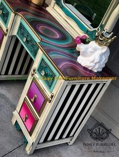DIY Furniture Makeover Incredibly Creative Furniture Hacks The History Of Vacuum Clea Funky Painted Furniture, Refurbished Furniture, Paint Furniture, Repurposed Furniture, Furniture Projects, Shabby Chic Furniture, Furniture Makeover, Cool Furniture, Bedroom Furniture