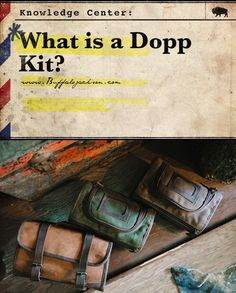 What is a Dopp kit? First, yes it's Dopp kit (not dopp kitt), and it's a mens toiletry bag with some great history behind it. Men have carried their travel essentials in these leather or canvas kits since WWII. Read on for a quick tutorial on this vintage Waxed Canvas Bag, Canvas Bags, Travel Accessories For Men, Men's Accessories, Leather Passport Wallet, Leather Men, Leather Bags, Leather Craft, Mens Travel