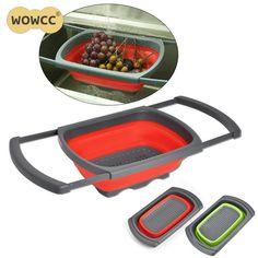2017 Silicone Foldable Drain Basket Kitchen Collapsible Silicone Colander Fruit Vegetable cozinha Strainer Kitchen Gadget