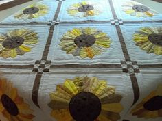 Quilted Lap quilt,Sunflower quilt,wall hanging,decoration,housewares,home decor,Fall quilt. $95.00, via Etsy.