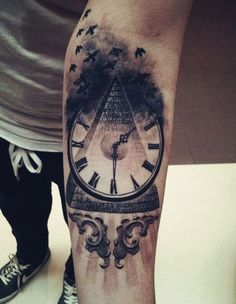 clock and watch tattoo design